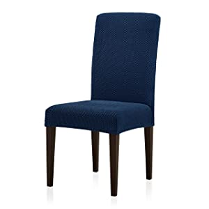 Subrtex Jacquard Dining Room Chair Slipcovers Sets Stretch Furniture Protector Covers for Armchair Removable Washable Elastic Parsons Seat Case for Restaurant Hotel Ceremony (2, Blue)