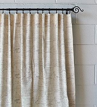 Amazon.com: Urbanest French Scripted Linen Designer Drapery ...