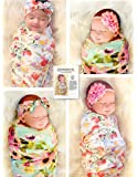 """Cambria Baby Organic Cotton 40"""" x 40"""" Swaddle and Headband Set for Girl (5 Piece: 2 Floral Swaddles and 3 Headbands)"""