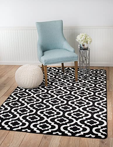 Summit 25 New Black White Trellis Lattice Modern Abstract Rug Many Aprx Sizes Available , 8 X10 ACTUAL IS 7 .4 X10 .6