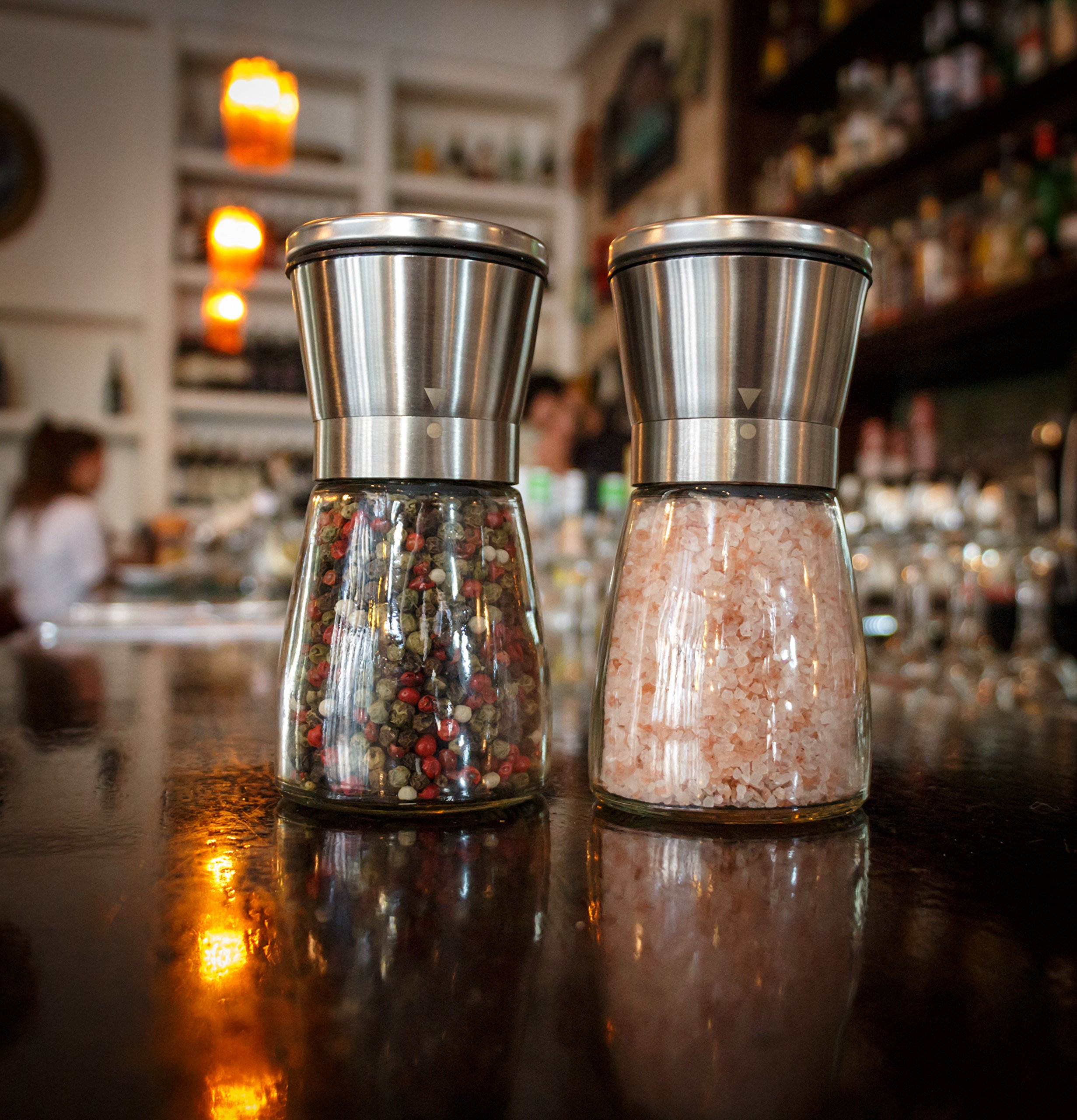 Salt and Pepper Grinder Set - Salt and Pepper Shakers for Professional Chef - Best Spice Mill with Brushed Stainless Steel, Special Mark, Ceramic Blades and Adjustable Coarseness by Kitchen-GO (Image #2)