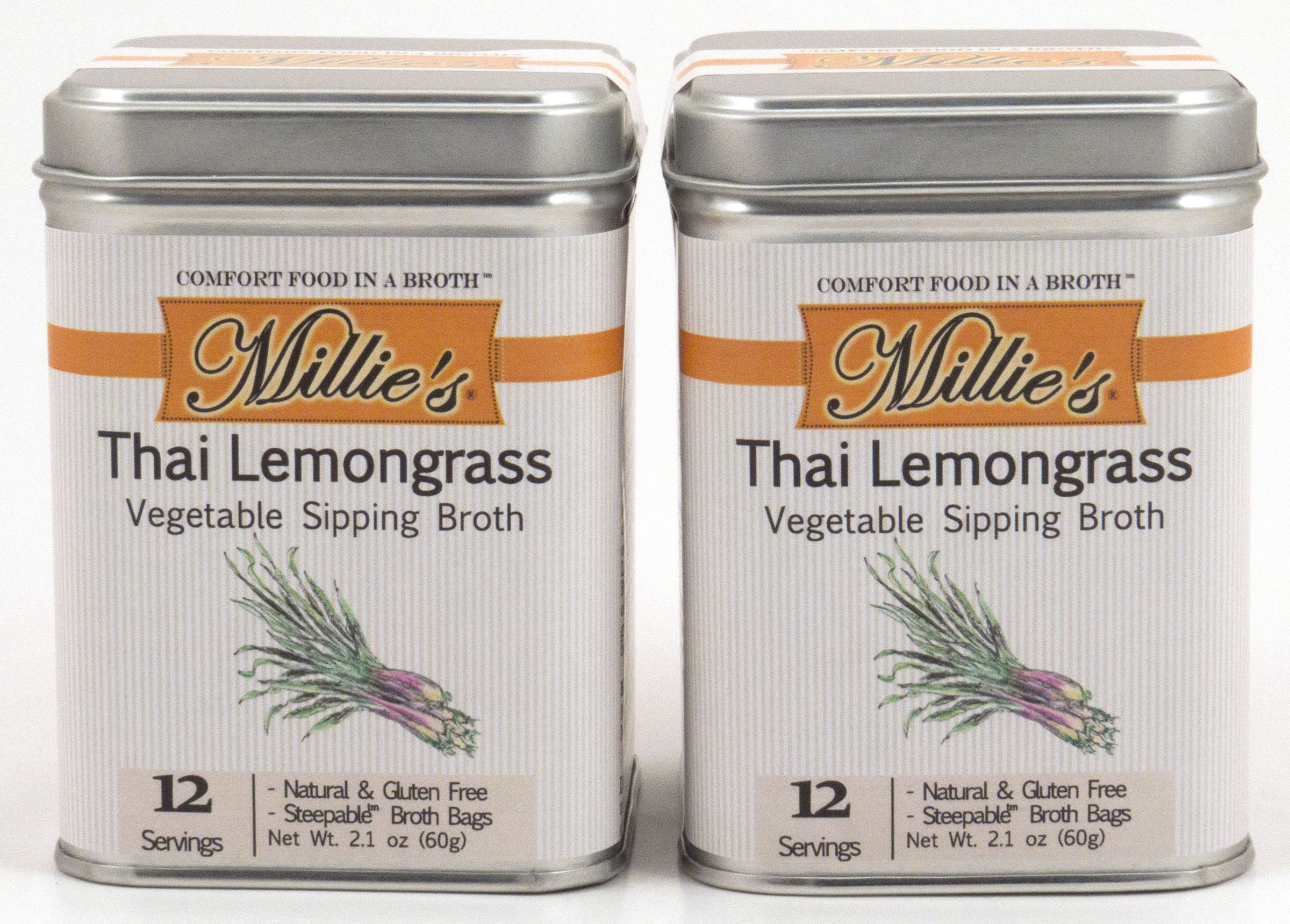 Millie's All Natural Organic Gluten-Free Vegetable Sipping Broth 12 Tea Bags each Thai Lemongrass (2-Pack)