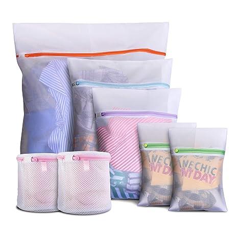 DMplus 7PCS Bolsa Lavadora, Bolsas para Lavandería de Malla con Cremallera. 5 Tamaños para Ropa Interior, Camisetas, Pantalones, Sujetadores. Bolsas ...
