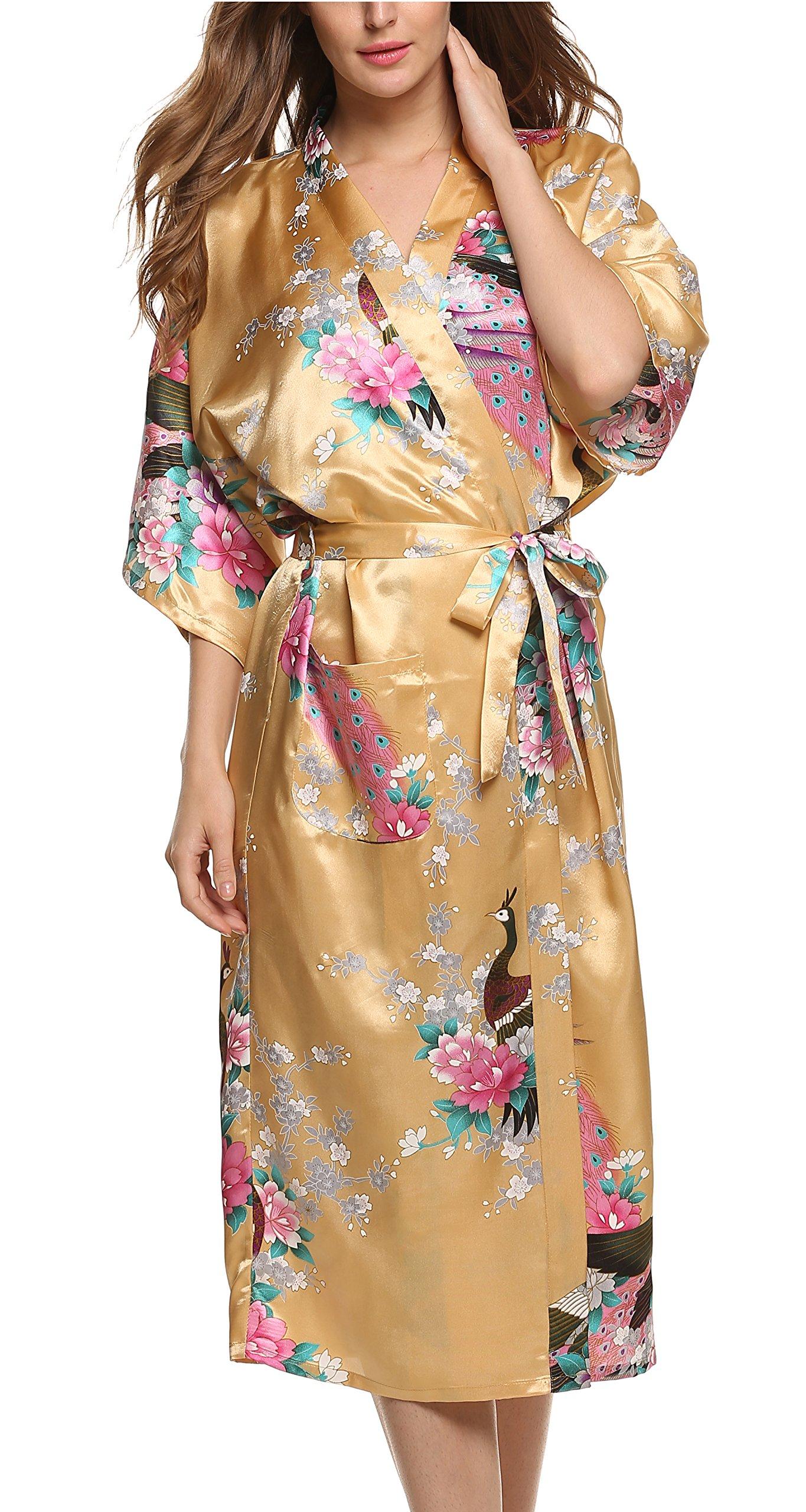 Avidlove Pijama Lencería Kimono largo pavo de satén y estampado floral para mujer product image