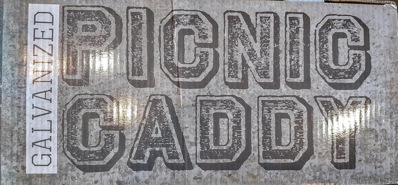 Picnic Galvanized Caddy with Chalk Board 17 x 13 x 9