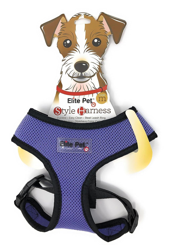 Elite Pet purplec Black Medium Style Dog Harness