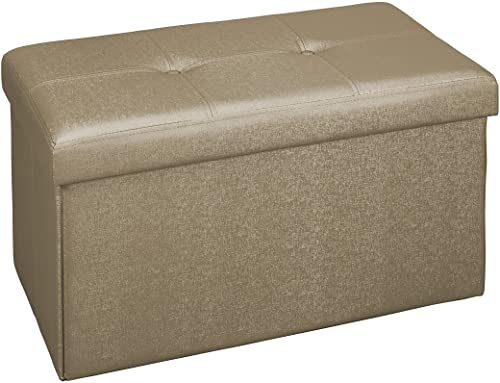 Simplify Collection 30-Inch Faux Leather Folding Storage Ottoman, Metalic Bronze