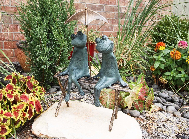 "Large Verdi Green Aluminum Two Lover Frogs Under Umbrella Garden Statue 18"" Tall"