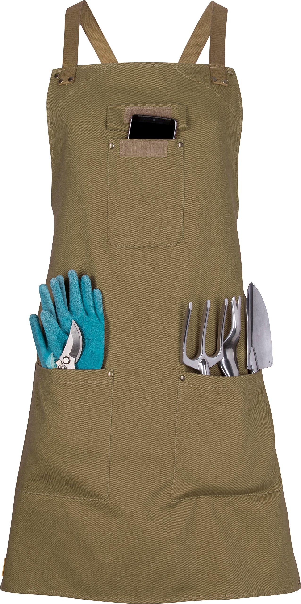 Women's Gardening Apron with Pockets - Work Apron Artist Smock - Gifts for Gardener's (Medium, Green)