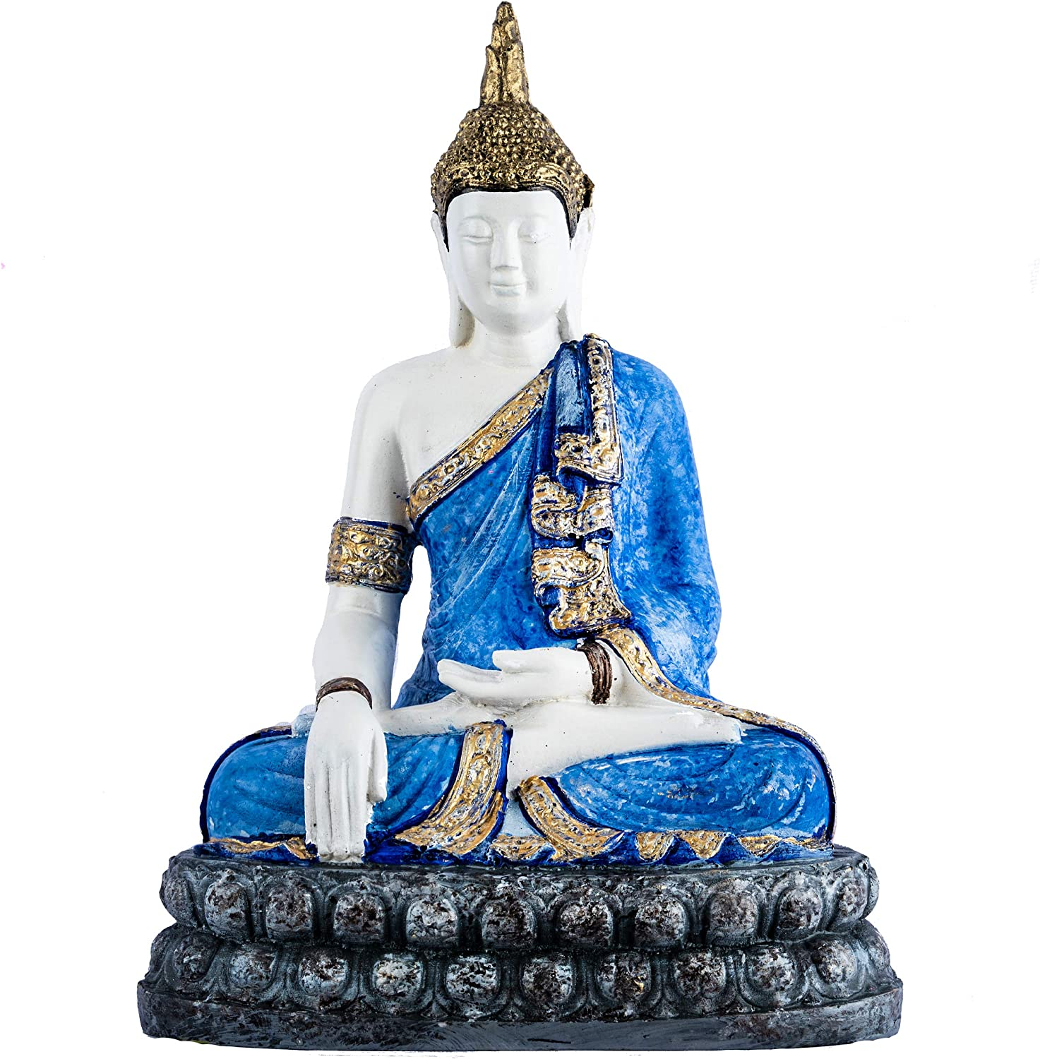 Ivana's Crafts Buddha Statue Dhyani Mudra Figurine Fengshui Praying Sitting Sculpture for Home Decor  Table Top  Office Desk   Gifting   (Blue)