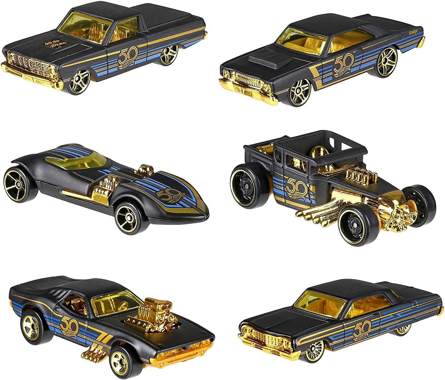 Hot Wheels New 1:64 50th Anniversary Black & Gold Collection ...