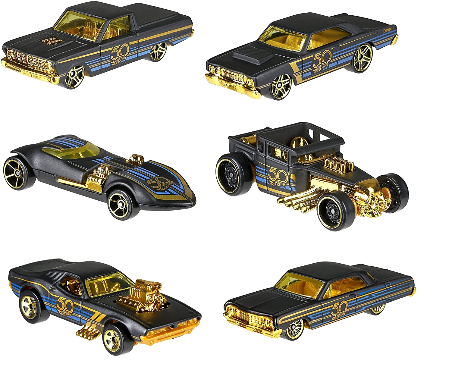 New 1 64 Hot Wheels 50th Anniversary Black Gold Collection Bone Shaker Twin Mill Rodger Dodger Dodge Dart Impala Ford Ranchero Set of 6pcs Diecast Model Car By HotWheels