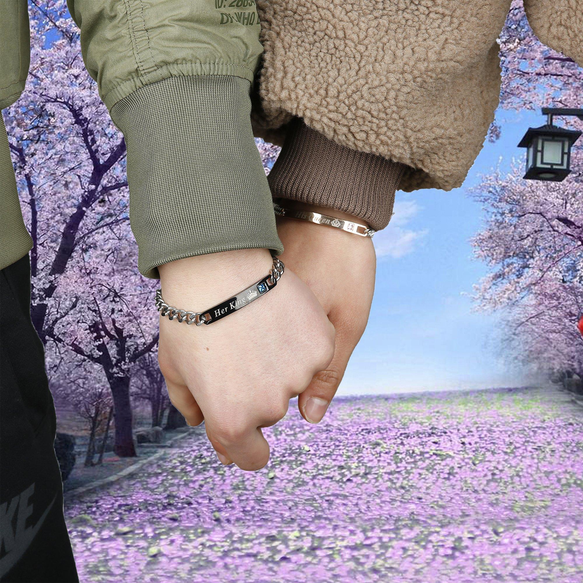 FIBO STEEL 4 Pcs Couples Bracelet for Men Women His & Her Crown Queen Bracelets Set 8mm Beads Bracelets by FIBO STEEL (Image #7)