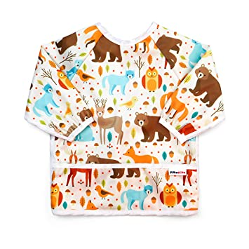 Dinosaurs 6 to 24 Months Baby Girl and boy Colors Pikababy Long Sleeved Bib Waterproof Bibs with Pocket
