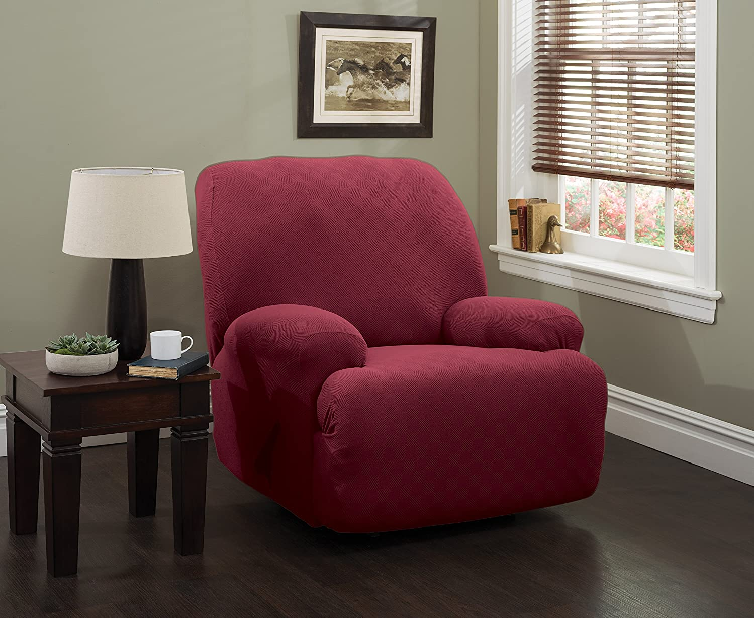 Stretch Sensations 849203017541 Newport Jumbo Recliner Stretch Slipcover, Brick Jeffrey Home