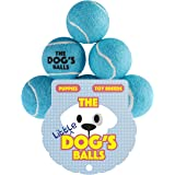 The Little Dog's Balls - 6 Small Premium Blue Tennis Balls for Dogs, Dog Toy Mini Ball for Your Puppy, Small Dog or Cat. For Puppy Exercise, Puppy Play, Small Dog Play, Puppy Training & Fetch. 6 Authentic Tennis Balls for a Smaller Mouth, Too Small for Chuckit Launchers & No Squeaker, The King Kong of Little Dog Balls! Woof Woof:)