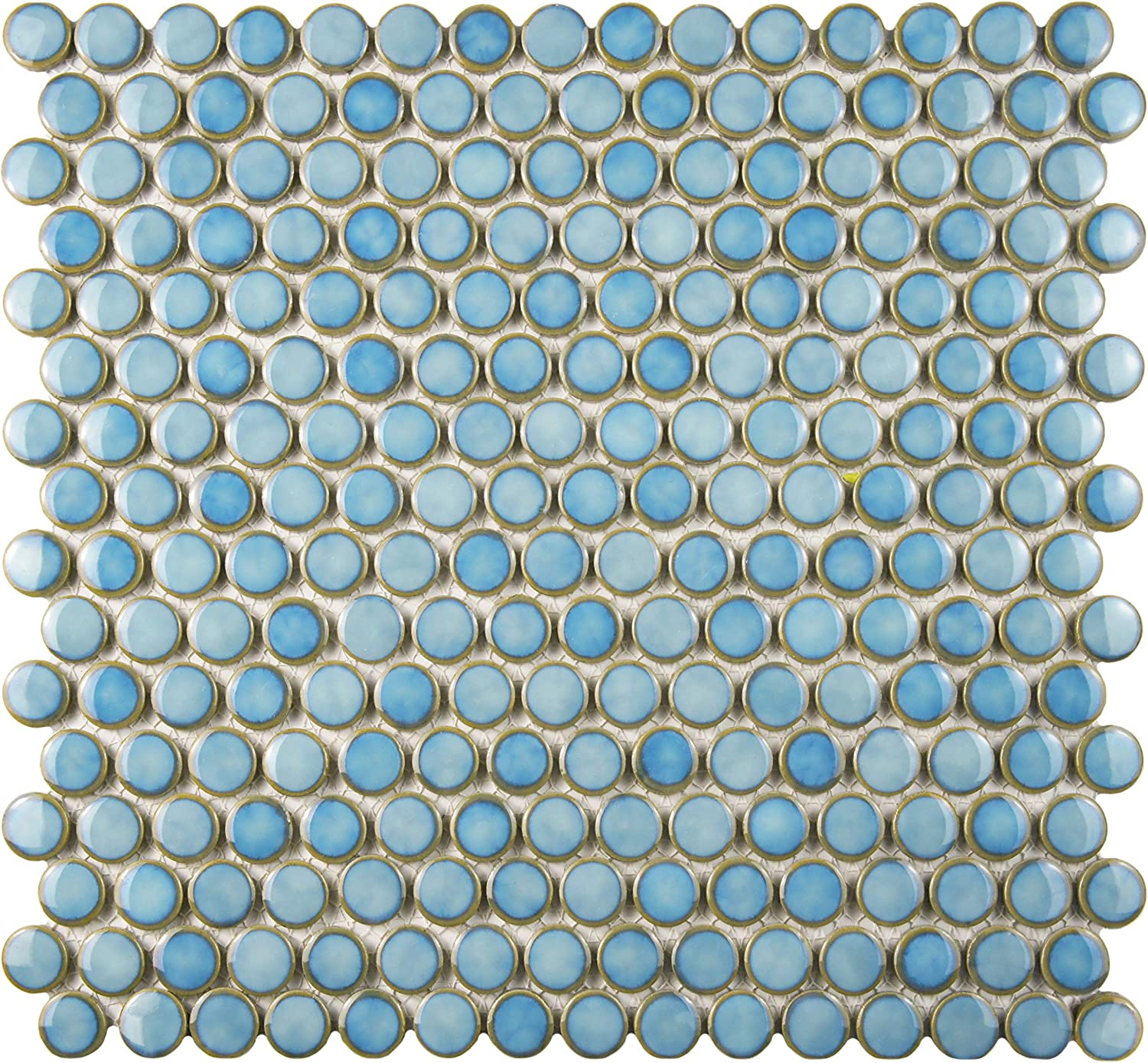 """SomerTile FKOMPR4 Penny Porcelain Mosaic Floor and Wall, 4"""" x 4.4"""",  Marine Blue Tile, 4x4.4 Inch, 4 Count"""