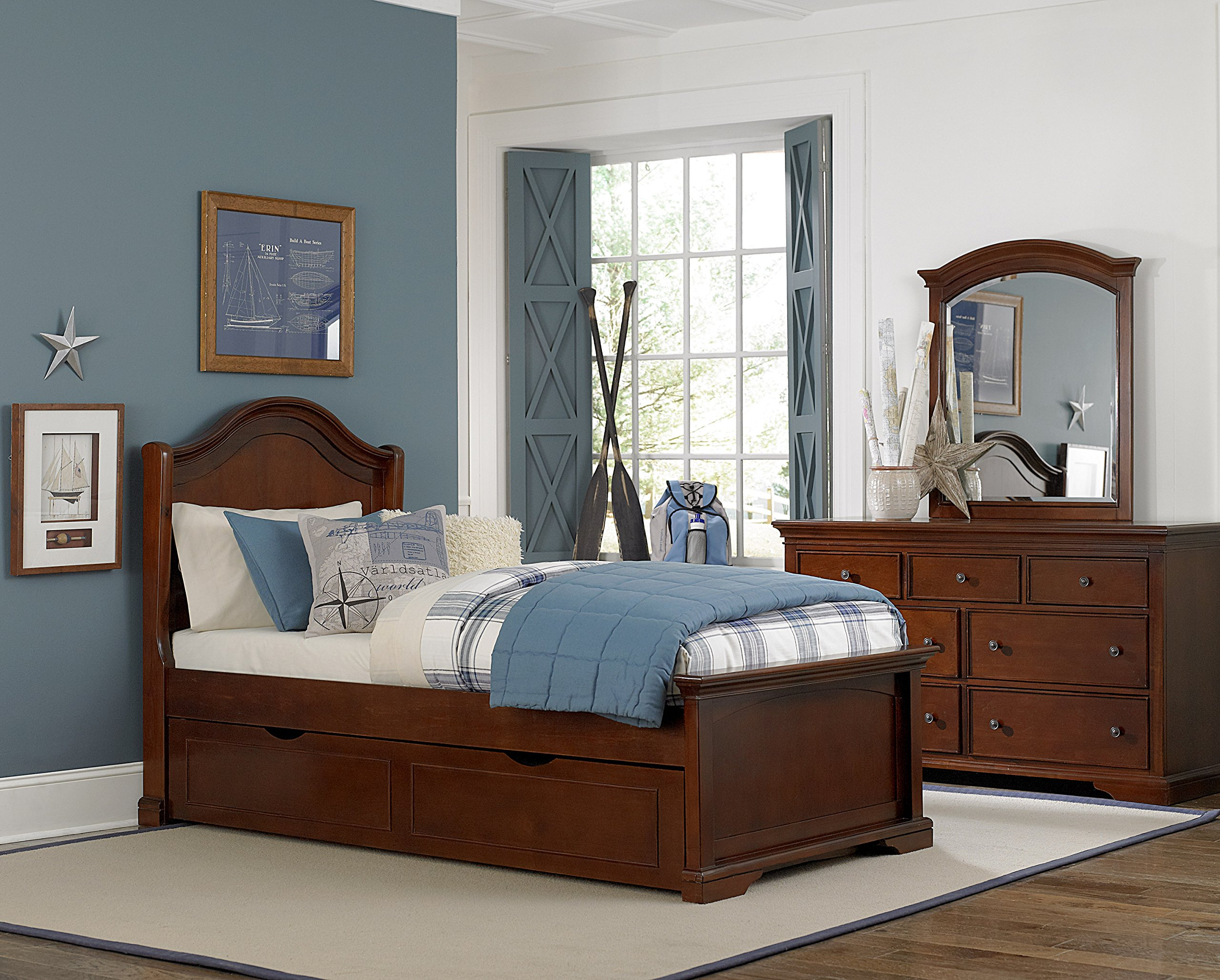 NE Kids Walnut Street Morgan Arch Bed with Trundle, Chestnut, Twin