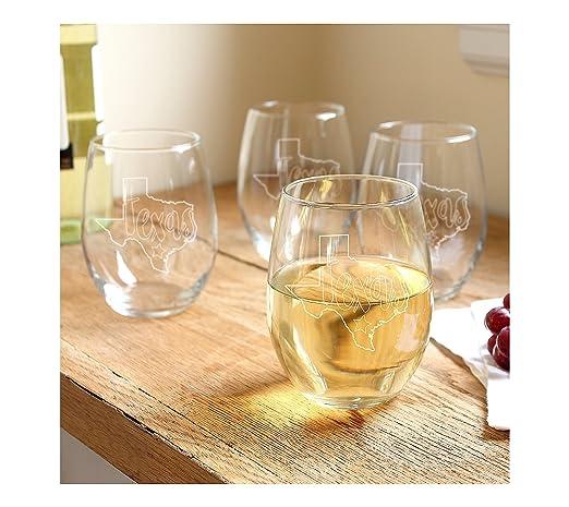 c5cc75cbd0f Amazon.com   Cathy's Concepts My State 21-oz. Stemless Wine Glasses ...