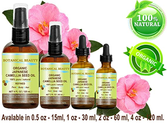 Japanese ORGANIC CAMELLIA SEED OIL. 100% Pure / Natural / Undiluted / Refined / Cold Pressed Carrier Oil. Rich Antioxidant To Revitalize And Rejuvenate The ...
