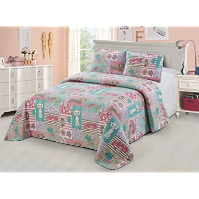 Better Home Style White Pink Turquoise Purple Cats Dogs with Hearts & Flowers Patchwork Design Kids/Girls/Teens 2 Piece Coverlet Bedspread Quilt Set with Pillowcase # Pets (Twin): Kitchen & Dining