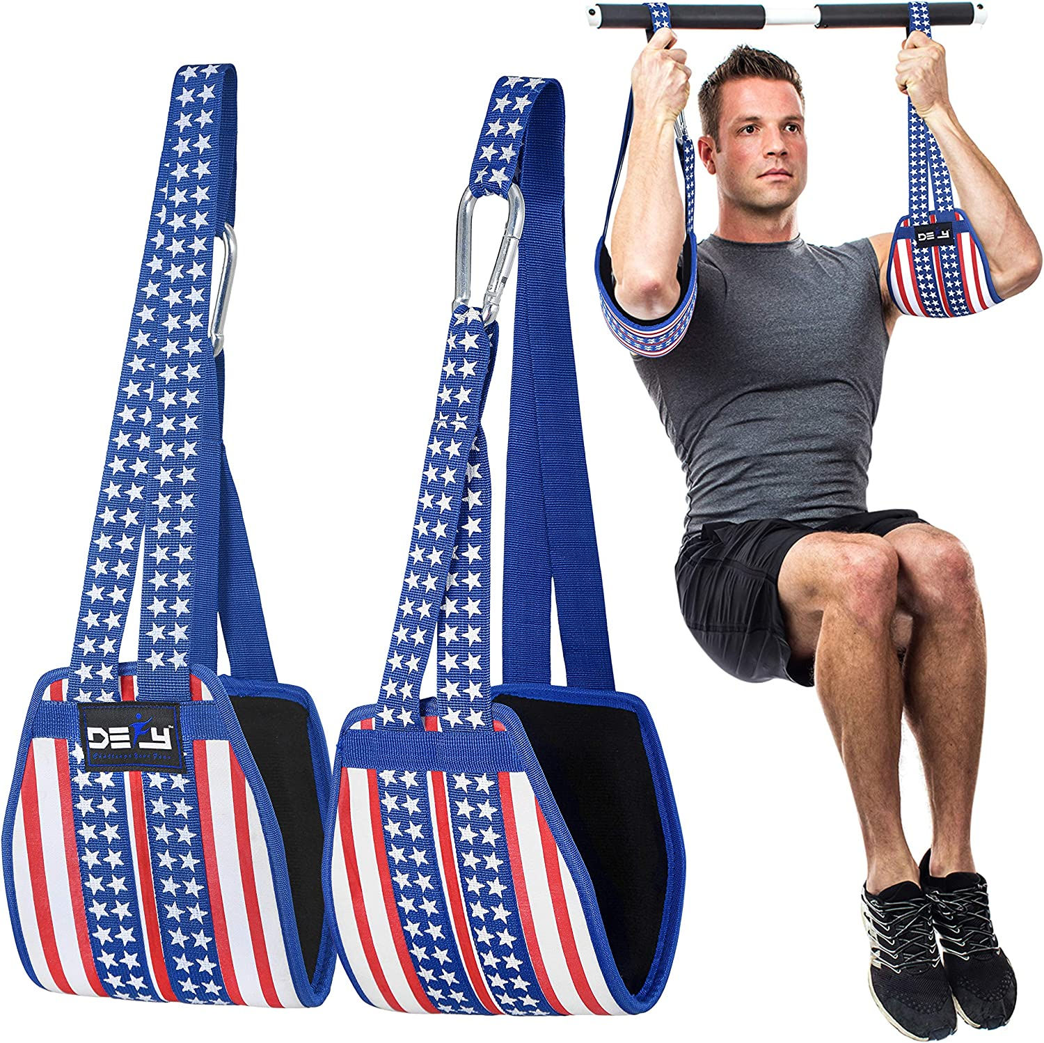 DEFY Hanging Ab Straps for Abdominal Slings Pullup Bar Muscle Building and Core Strength Training Home Gym Fitness Padded Ab Workout Equipment for Men & Women