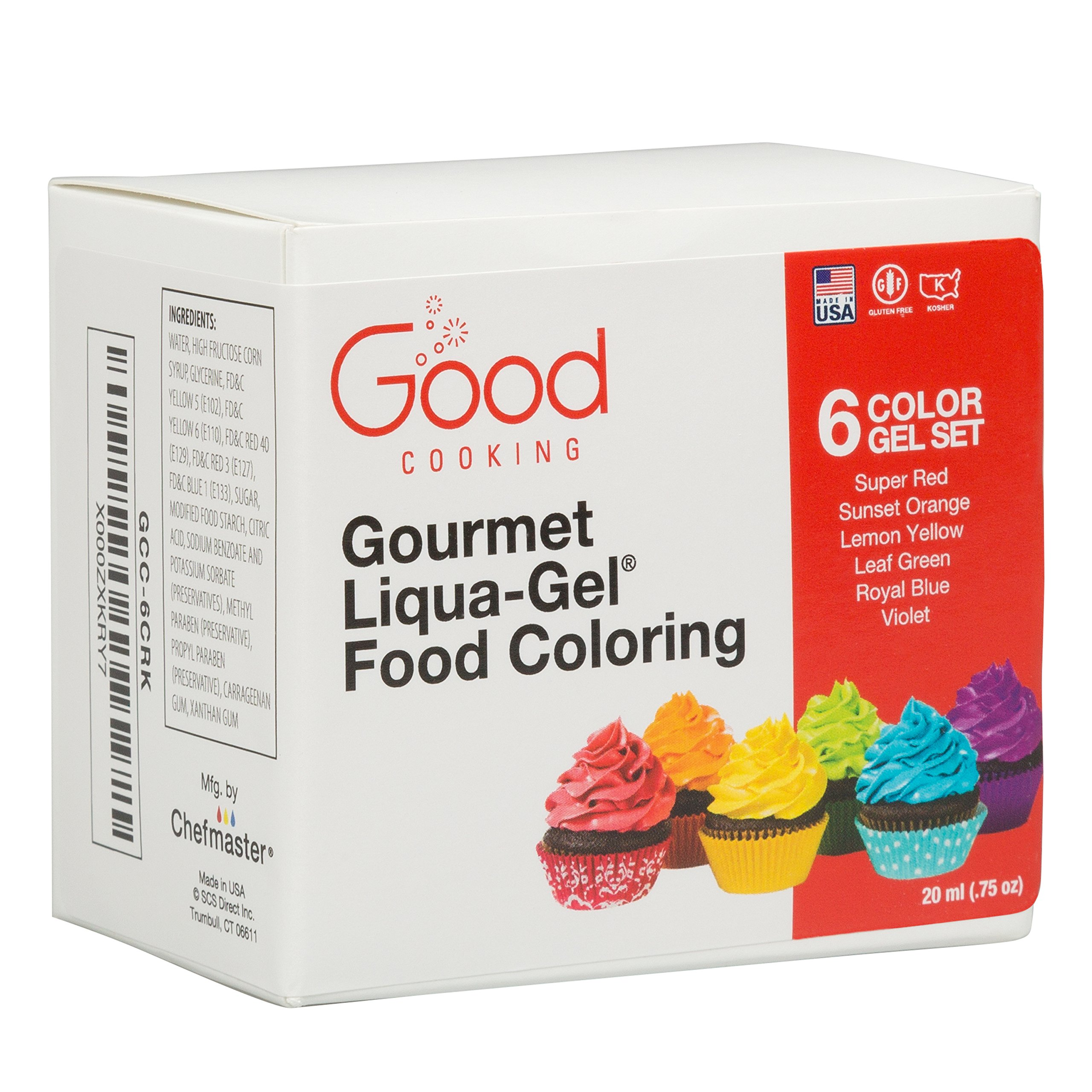 Food Coloring Liqua-Gel - 6 Color Rainbow Kit in .75 fl. oz. (20ml) Bottles by Good Cooking (Image #3)
