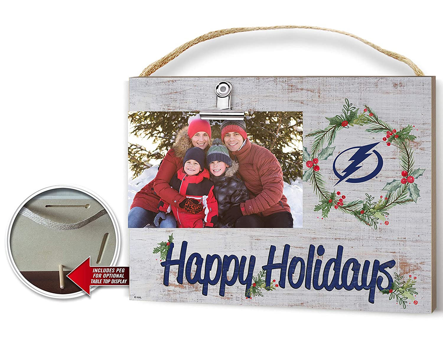 KH Sports Fan Clip It Colored Happy Holidays Photo Frame Tampa Bay Lightning