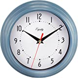 "Equity by La Crosse 25014 Round Plastic Analog Wall Clock, 8"", Slate Blue"
