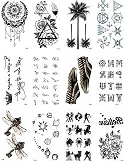 84a782ff9 12 sheets black palm tree rose temporary tattoo Small Wrist Tattoos for  Women halloween costume face