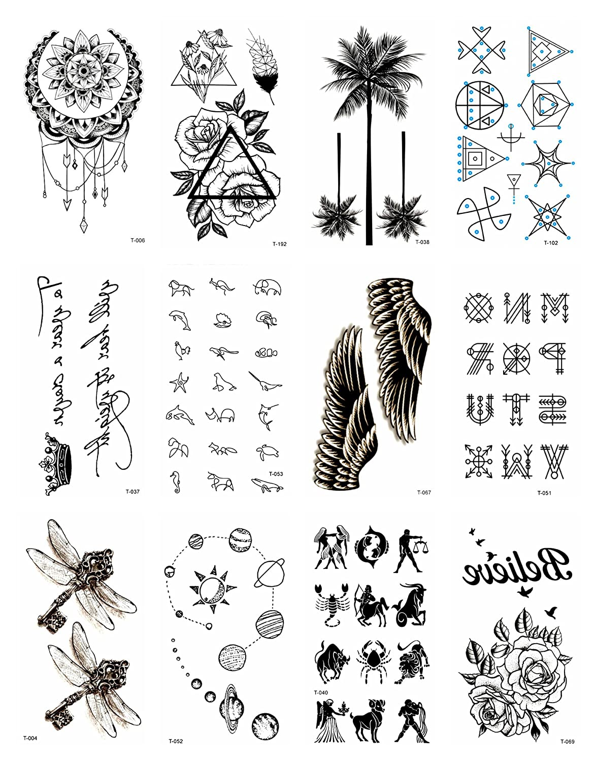 7a3fb6724 Amazon.com: 12 sheets black palm tree rose temporary tattoo Small Wrist  Tattoos for Women halloween costume face decals: Clothing