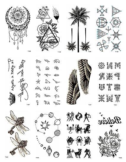 Amazon Com 12 Sheets Black Palm Tree Rose Temporary Tattoo Small