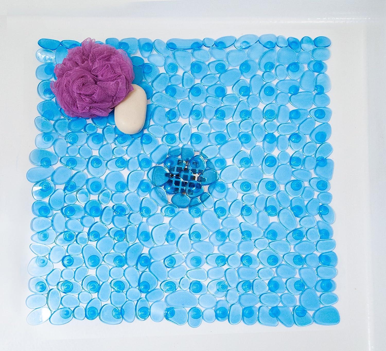 amazon com tushies toes river rock shower mat square blue amazon com tushies toes river rock shower mat square blue industrial scientific