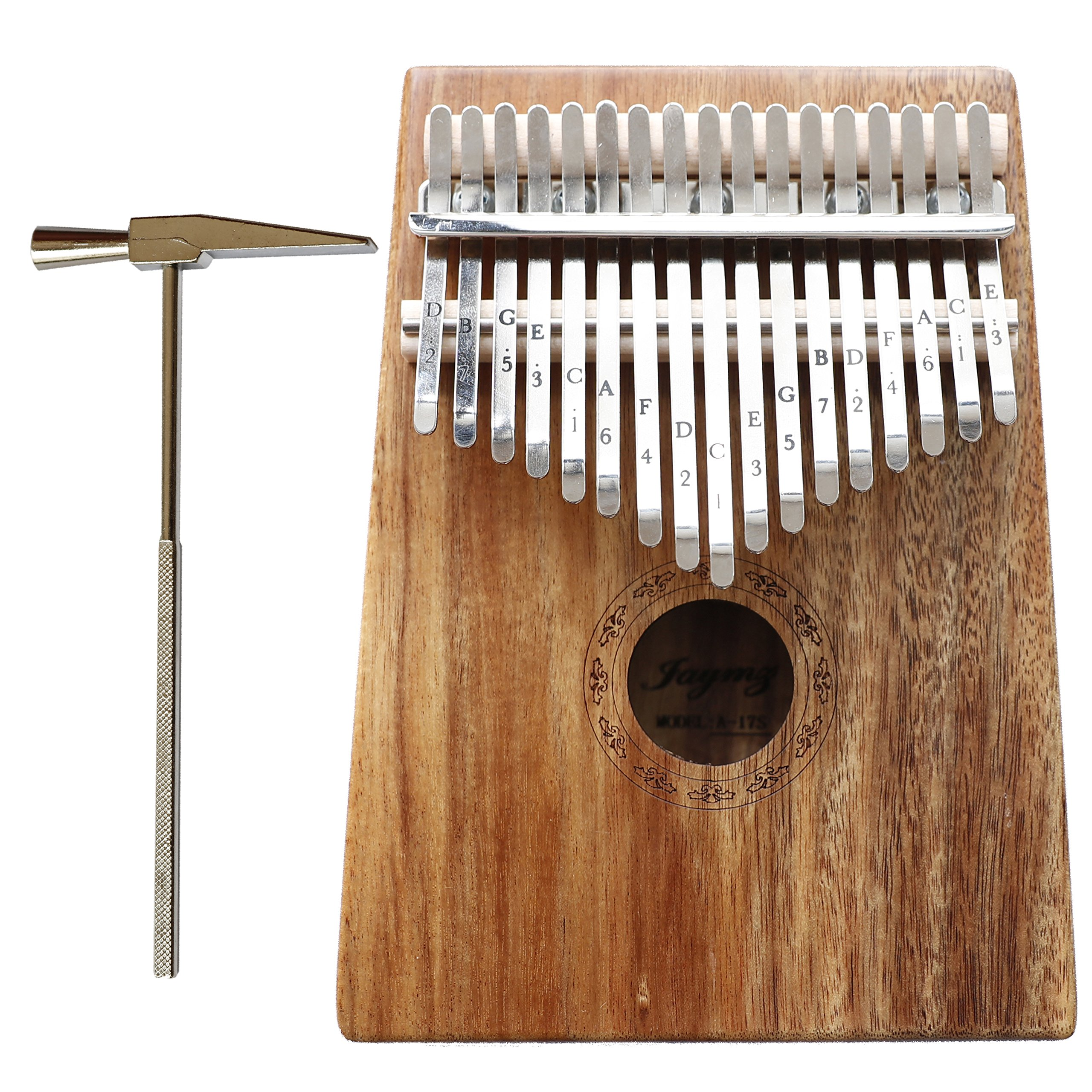 Jaymz Kalimba Mbira with 17 keys thumb piano - All SOLID WALNUT in matte color with natural grain