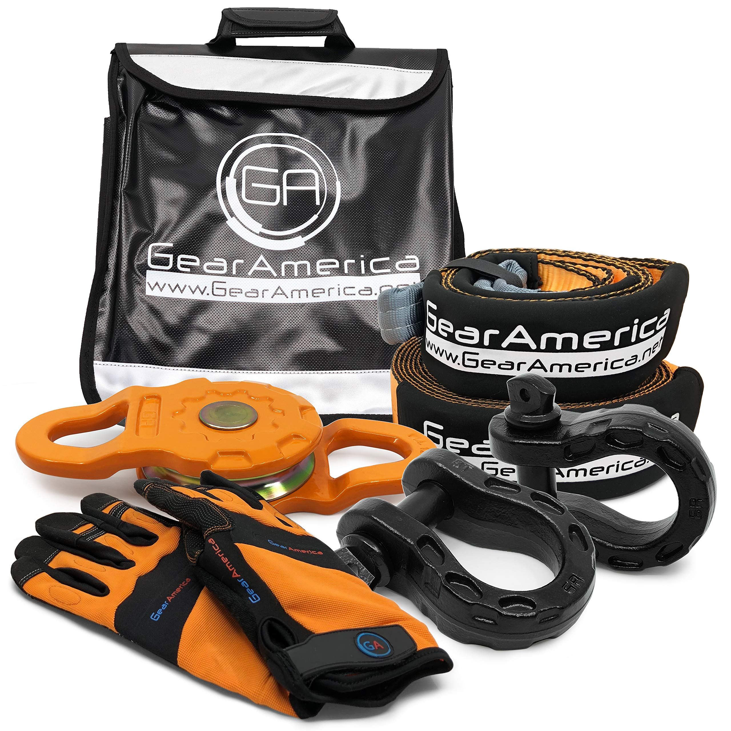 GearAmerica Off-Road Recovery Mega Kit | Tow Strap + Tree Saver + Mega Snatch Block Pulley + Black Mega D-Ring Shackles + Winch Line Dampener Bag + Recovery Gloves | Ultimate 4x4 Winching Accessories by GearAmerica