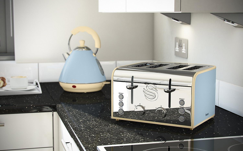 Swan Products ST17010GRN 4-Slice Retro Toaster, 800 W, Grey: Amazon ...