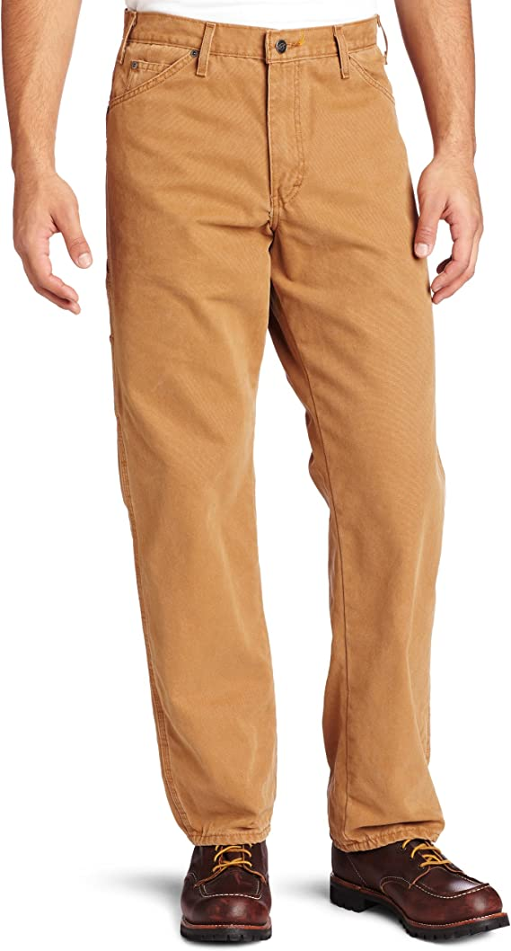 Dickies Men/'s Carpenter Jeans 42 x 30 Pants Relaxed Fit Straight Leg Brown Duck