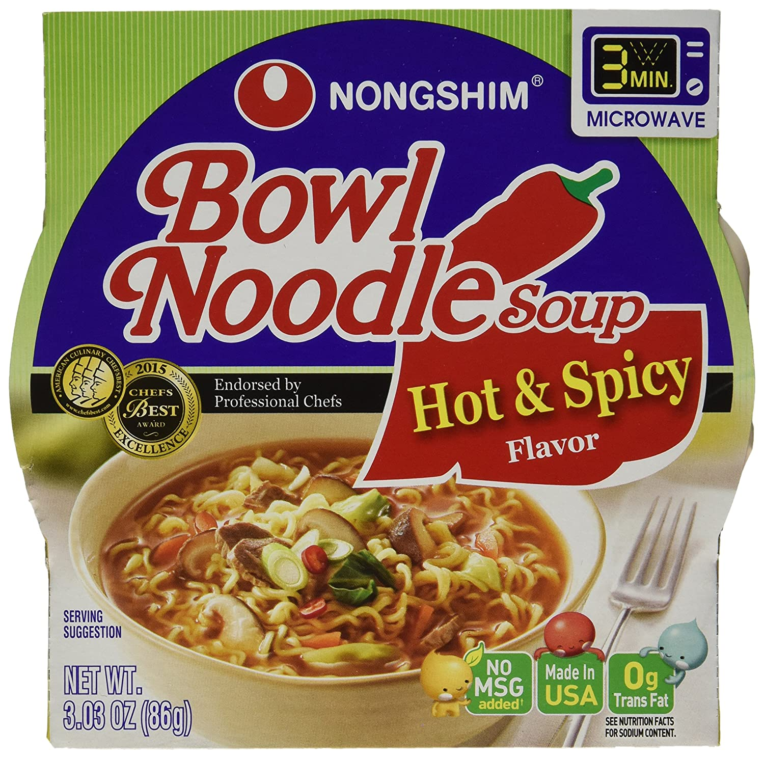 Amazon Com Nongshim Bowl Noodle Soup Hot And Spicy 3 03 Ounce Pack Of 12 Packaged Asian Dishes Grocery Gourmet Food