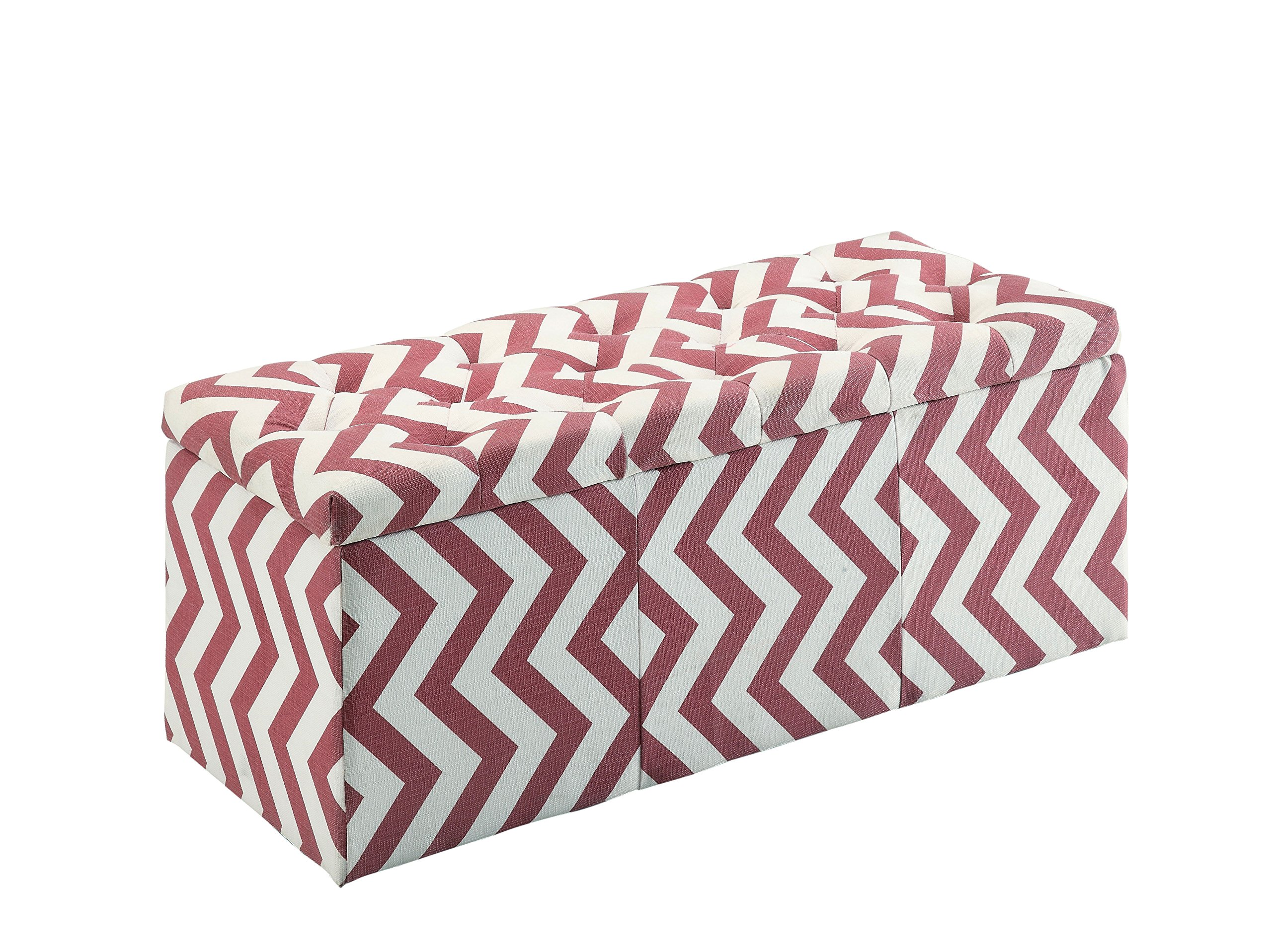 HOMES: Inside + Out IDF-BN6031RD Willy Chevron Storage Ottoman, Red