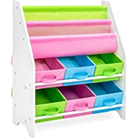 Best Choice Products Kids Furniture Toy and Bookcase Storage Shelf Organizer w/ 3 Book Shelves, 6 Fabric Storage Bins, Multicolor