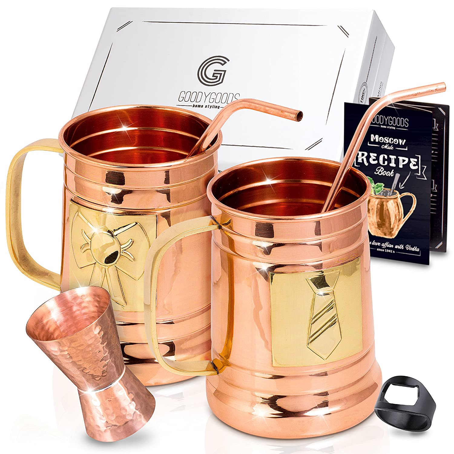 Magnificent Moscow Mule Copper Mugs: Make Any Drink Taste Much Better! 100% Pure Solid Copper His & Hers Gift Set- 2 Hammered 16 OZ Copper Caps 2 Unique Straws, Jigger & Recipe Book! (copper, 16oz) GoodyGoods-home styling SYNCHKG119421