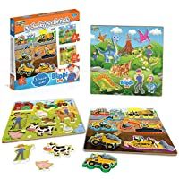 Blippi Chunky Puzzles for Toddlers - 3-in-1 Chunky Puzzle Set for Kids Ages 2+ -...