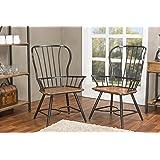 Baxton Studio Longford Dark-Walnut Wood and Black Metal Vintage Industrial Dining Arm Chair (Set of 2)