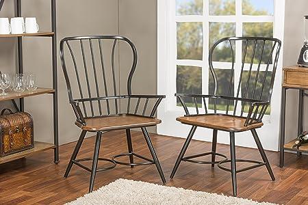Baxton Studio Longford Dark-Walnut Wood and Black Metal Vintage Industrial Dining Arm Chair Set of 2