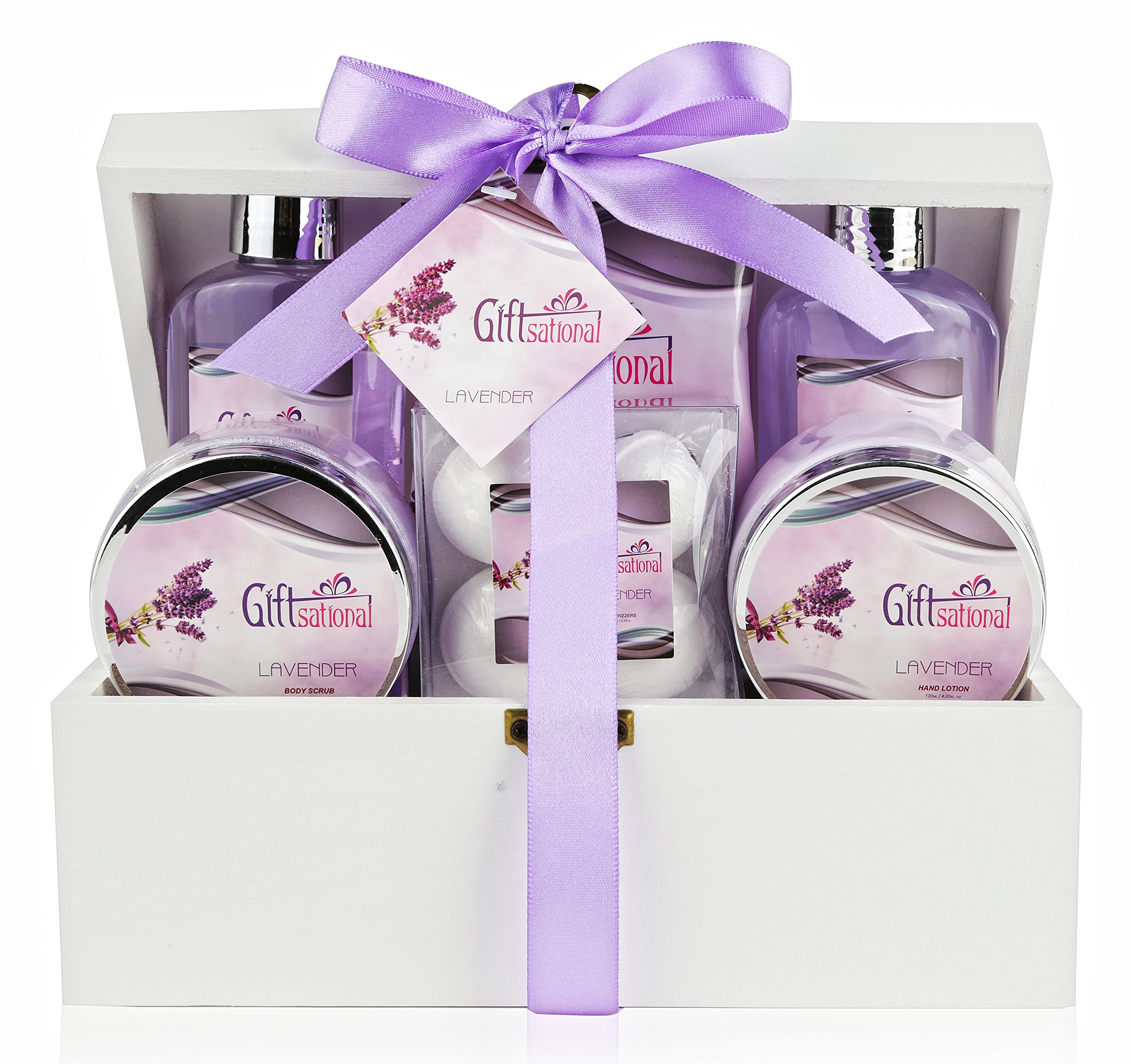 Spa Gift Basket with Sensual Lavender Fragrance - Best Mother's Day, Wedding, Birthday or Anniversary Gift for Women - Bath Gift Set Includes Shower Gel, Bubble Bath, Bath Salts, Bath Bombs and More!