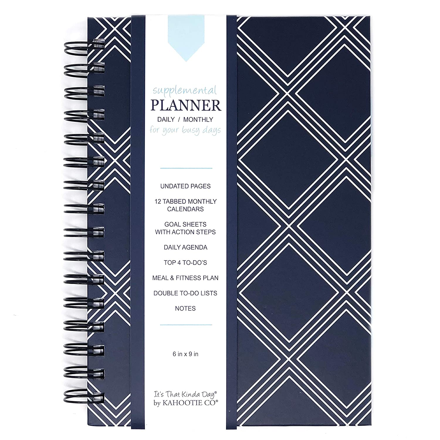 Kahootie Co Undated Daily Planner for Busy Days- keep focused, on task, accomplish top 4 daily to-dos, plan meals and fitness activity in advance, ...