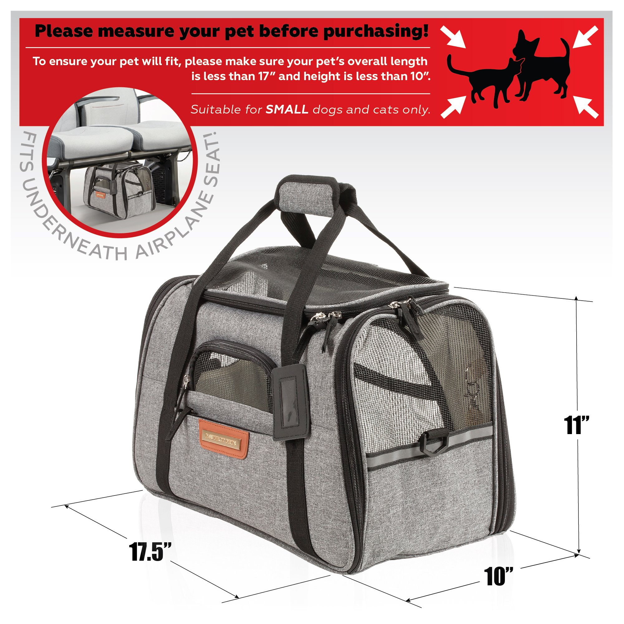 Pawfect Pets Pet Travel Carrier, Soft-Sided with Two Pet Mats for Small Dogs and Cats (Grey) by Pawfect Pets (Image #3)