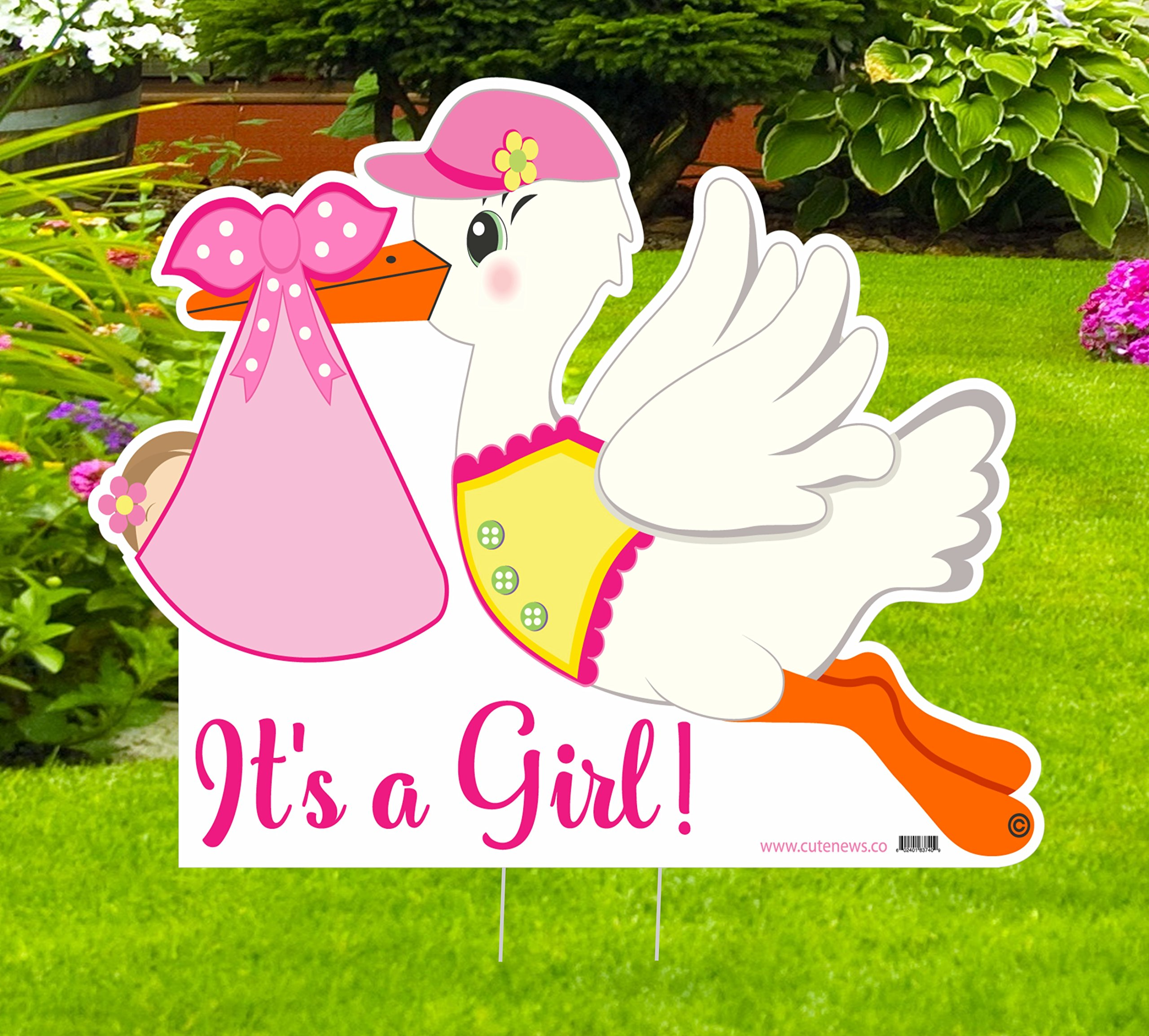 It's a Girl Stork Yard Sign - Welcome Home Newborn Baby Lawn Announcement - Baby Shower Party Pink Decoration