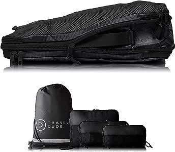 TRAVEL DUDE Organizador de Maletas con Bolsas de Compresión para Equipaje | De Botellas de Plástico Recicladas | Bolsas Organizadoras Maleta | Easy Travel | Ultra liviano (Negro, 4 piezas)
