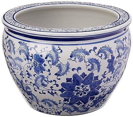Amazon Com Oriental Furniture 16 Floral Blue White Porcelain